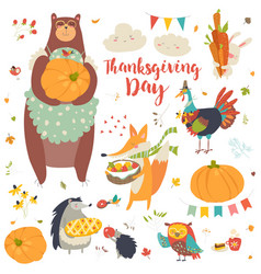 Thanksgiving set with cute forest animals vector