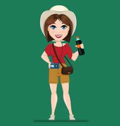Tourist woman traveler with bottle of soda water vector