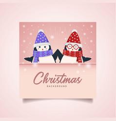 twin penguin christmas vector image
