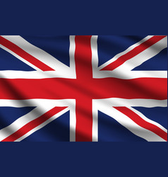 United kingdom flag realistic waving union jack vector