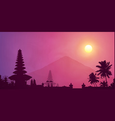 violet foggy sunset with balinese temple palm vector image