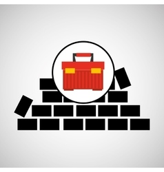 wall brick tool box design vector image