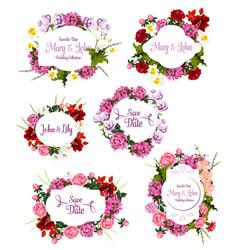 wedding invitation save date floral frame set vector image