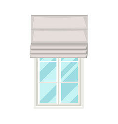 White plastic window with roman curtains on wall vector