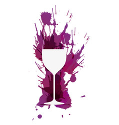 wine glass in front colorful grunge splashes vector image