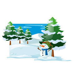Winter scene with snowman in the snow field vector