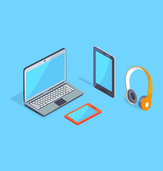 wireless equipment three dimensional icons vector image