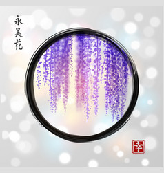 wisteria hand drawn with ink in black enso zen vector image