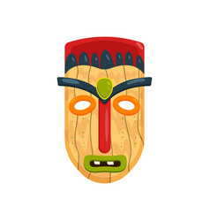 wooden african mask with green gem in forehead vector image