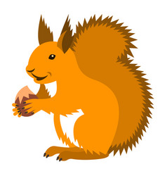 cute smiling red squirrel with nut cartoon vector image