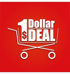 Dollar deal poster with a basket vector image