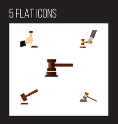 Flat icon court set of crime law government vector
