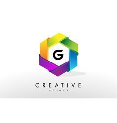 g letter logo corporate hexagon design vector image