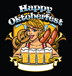 girl of oktoberfest celebrate the party vector image vector image
