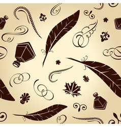 seamless background handwritten ancient feathers c vector image vector image