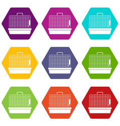 cage for birds icon set color hexahedron vector image vector image