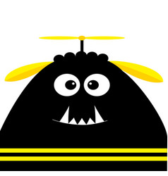 funny monster head silhouette with fang tooth and vector image