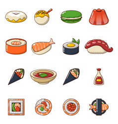 japan food icons set cartoon style vector image