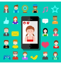 Mobile Social Media vector image vector image