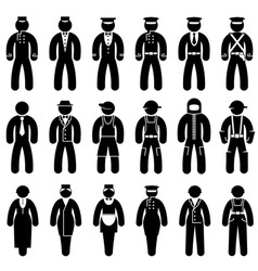 peoples uniforms icons vector image vector image
