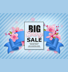 spring sale colorful banner with sakura flower vector image