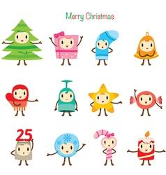 Christmas Ornaments Character Design Set vector image