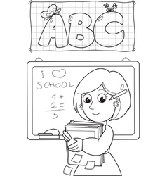 Coloring image of school teacher vector image