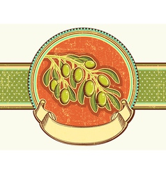 Olives on vintage background on old paper texture vector image vector image