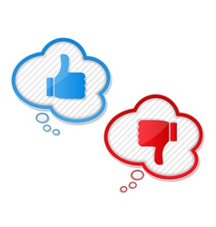 Thumbs up and down symbols vector image