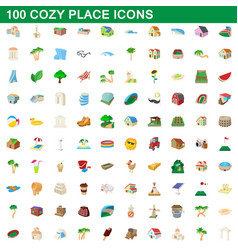 100 cozy place icons set cartoon style vector image