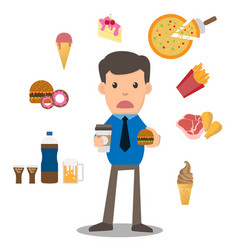 business man unhappy hungry bearded man eating vector image