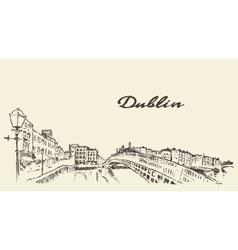 Dublin skyline hand drawn sketch vector image