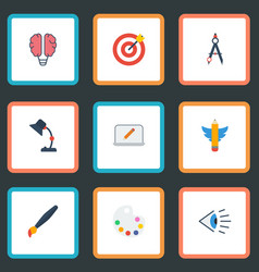 Flat icons wings screen eye and other vector