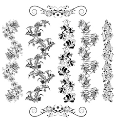 Floral patterns in black vector image vector image