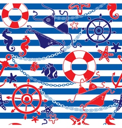 Seamless nautical pattern on striped background vector image