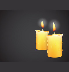 two burning candles on black background vector image