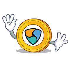 waving nem coin character cartoon vector image vector image