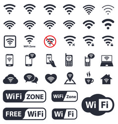 wifi icons set wireless sign vector image vector image