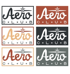aero club quote on vintage labels set vector image