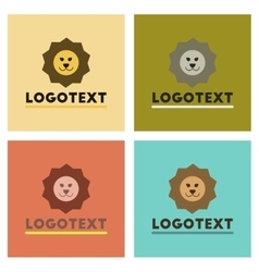 Assembly flat icons nature lion logo vector