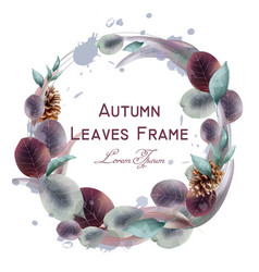 Autumn leaves wreath watercolor round leaf vector