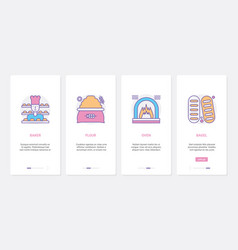 bakery ux ui mobile app page screen set with line vector image