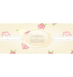 Beautiful flower-patterned background shabby chic vector