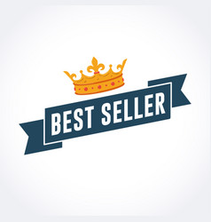best seller ribbon with gold crown vector image