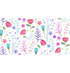 Blooming tropical flowers poppies summer seamless vector
