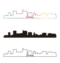 Boise skyline linear style with rainbow vector image