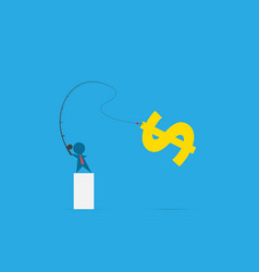 Businessman use fishing rod to get dollar symbol vector