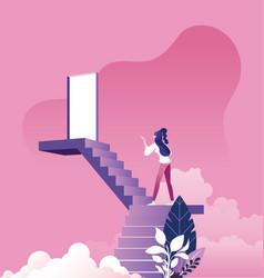 Businesswoman walking up staircase to door in sky vector