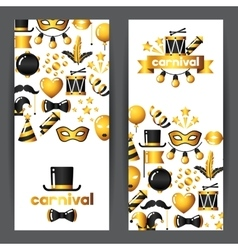 Carnival banners with gold icons and objects vector