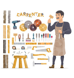Carpenter elements collection vector